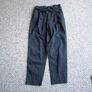 Zara black paperbag waist belted pleated pants XS